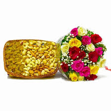 fruit in a basket buy twenty colorful roses with mix fruit in a basket online at