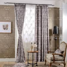 Brown Floral Curtains European Style Champagne Jacquard And Embossed Polyester Floral
