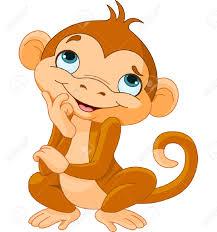 illustration of thinking cartoon monkey royalty free cliparts