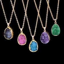 purple fashion jewelry necklace images Fashion natural stone gold purple blue crystal pendant necklace jpg