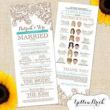 printed programs wedding program with illustration of wedding party