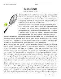 comprehension worksheet tennis time