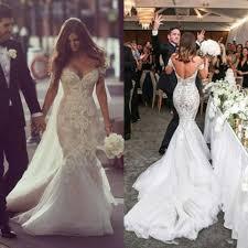 formal wedding dresses mermaid shoulder wedding dress white court