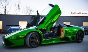 lamborghini green and black lamborghini murcielago lp640 roadster custom in green chrome wrap