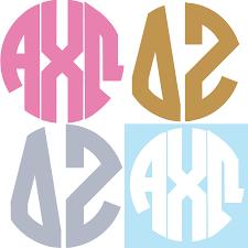 monogram stickers sorority monogram stickers 15 colors available