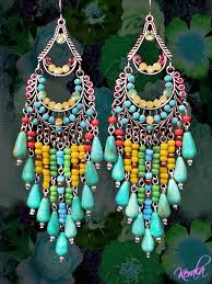 Beaded Turquoise Chandelier Long Colorful Beaded Chandelier Earrings Large Exotic Jewelry