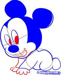 draw baby mickey step step disney characters cartoons