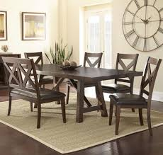 steve silver clapton 6 piece dining set with bench and x motif