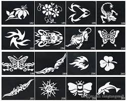 mixed design stencils for body painting glitter temporary tattoo
