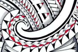 tribal maori halfsleeve design with layers and colors