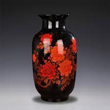 jingdezhen ceramic large black glaze vase simple landing