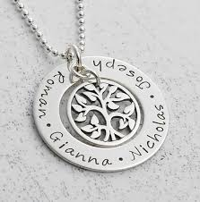 Personalized Family Necklace Jewelry Hand Stamped Personalized Family Tree Washer Necklace