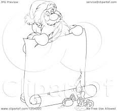 clipart of black and white santa claus holding a feather quil and