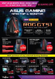 Gaming Desk Tops by Asus Gaming Desktops U0026 Monitors Brochures From Cee Show 2016