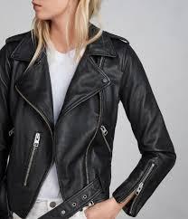 buy biker jacket allsaints uk womens balfern leather biker jacket black
