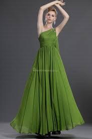 line one shoulder sleeveless floor length chiffon dark green