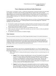 Goal Worksheets For Adults Thesis Essay How To Write A Good Thesis Statement For A