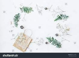 christmas composition christmas gift pine cones stock photo