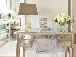 bedroom vinathe mirrored desk design with acrylic chair for