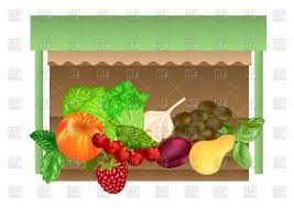 kiosk with different fruits and vegetables vector clipart image