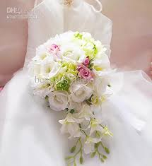 Silk Wedding Flowers 30 Cm White And Pink Lily Rose Bridal Bouquet Artificial Silk
