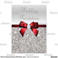 Red Wedding Invitation Cards Silver Sequins Royal Red Bow And Diamond Wedding Card Wedding