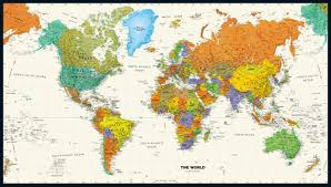 World Map Wallpaper by Contemporary World Wall Map
