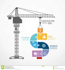 infographic template with construction tower crane jigsaw banner