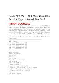 honda trx 350 trx 350 d 1986 1989 service repair manual download