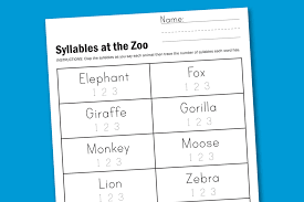 syllable worksheets 28 templates vegetable syllables 25 best