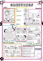 english worksheet greetings and farewells great ideas