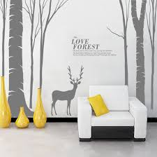 Wall Stickers Home Decor Large Birds Birch Tree Buck Wall Stickers Forest Wall Decal Home