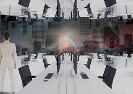 bureau inversé femme d affaires se tenant dans le bureau inversé avec l horizon