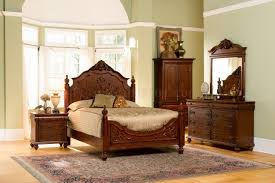 Antique Style Bed Frame Cherry Finish Classic Antique Style Bedroom With Carving Details