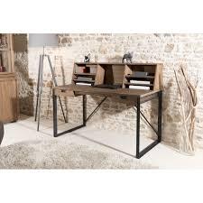 bureau bois et metal bureau 2 tiroirs avec étagères bois teck pieds métal 140x70cm