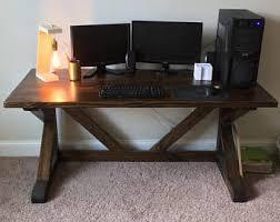 Dark Wood Office Desk Wood Desk Etsy