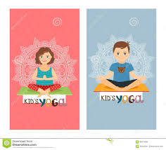 halloween background images for flyers with kids yoga kids vertical flyers set stock vector image 86274844