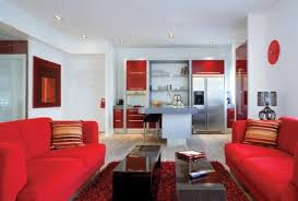 apartment modern decoration using white leather sofa and black red