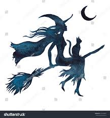 halloween flying witch on broom watercolor stock vector 452794483