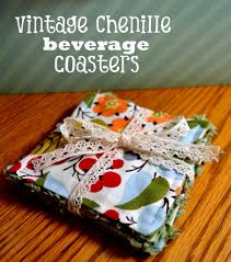 holiday handmade vintage chenille beverage coasters from pink