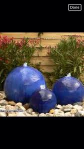 Ceramic Garden Spheres Used 3 Blue Glazed Ceramic Garden Waterplay Balls In 455545