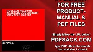 nuclear reactor analysis duderstadt solution 202453 video