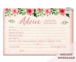 advice to the and groom cards bridal advice cards instant advice for the