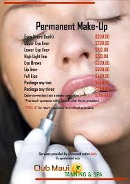 club maui tanning u0026 spa permanent makeup price list permanent