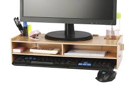 Desk For Computer And Tv Azlife Wooden Monitor Stand Desktop Monitor Riser Tv Amazon Co