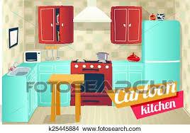 cuisine dessin animé clipart cuisine meubles accessoires intérieur dessin animé