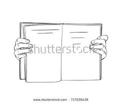 sketch hands flipping through book hand stock vector 684605239