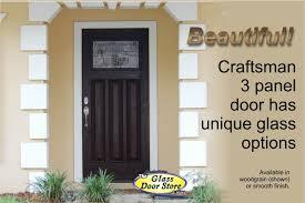 Fiberglass Exterior Doors With Glass Craftsman 3 Panel Entrance Door The Glass Door Store
