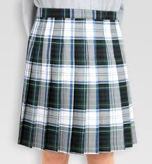green and white tartan uniform skirt with pleats pro