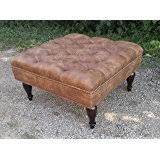 amazon com porter large square distressed brown leather tufted